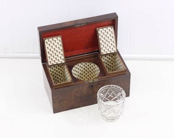 Antique tea caddy /w cut crystal mixing bowl. Georgian mixing teacaddy, English mahogany tea caddie,