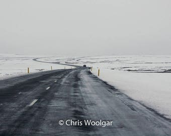 Cold Snow Covered Iceland Road, Fine Art Wall Art