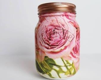 Vintage pink rose 0.5L Kilner Jar