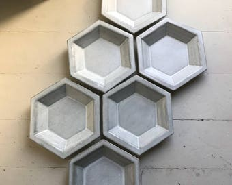 Hexagon Ceramic Pasta Bowl Set in White and Grey Green Ombré - 6 Bowls