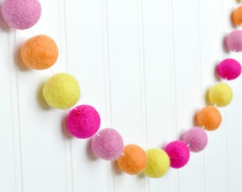 Pink and Yellow Girl's Room Decor, Pink Lemonade Party, Yellow and Pink Birthday Garland, Pink and Orange Felt Ball Garland, Pom Pom Garland