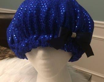 Blue Sequin Bonnet
