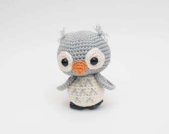 READY TO SHIP - Gray/White Crochet Owl Toy