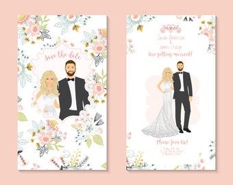 Wedding Portrait Invitation (Digital File) | RSVP | Save The Date | Couple Portrait | Custom Invitation | Wedding Portrait | Weddings