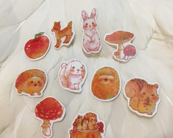 WOODLAND FOREST CREATURES Flake Stickers - 10 for Your enjoyment