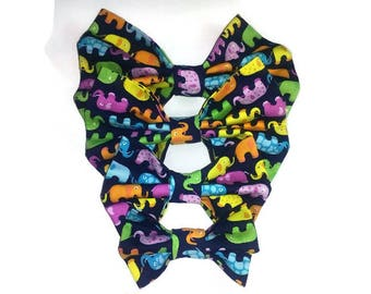 dog's bow tie , elephant pattern , for pets gift ideas , cat accessoires , pet ring bearer, matching
