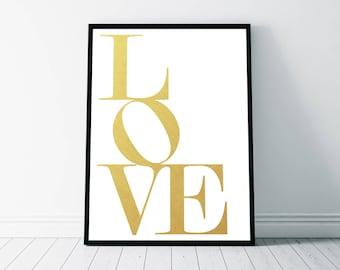 Love Print, Faux Gold Print, Love Wall Art, Love Printable, Elegant Typography, Gold Love Typography, Love Sign, Love Art Printable, Gold