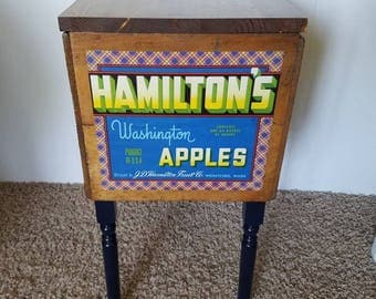 Vintage Apple Fruit Crate Side Table, Washington, End Table, Storage, Upcycled, Country, Rustic Decor