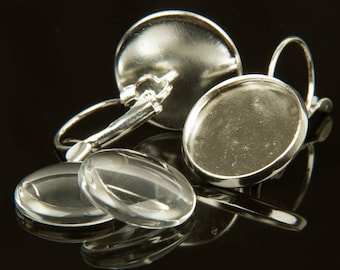 5 pairs of stud earrings for cabochons 16mm silver - 79208