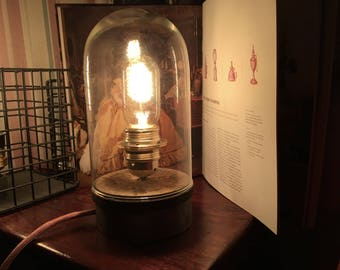 Industrial lamp made of wood and steel