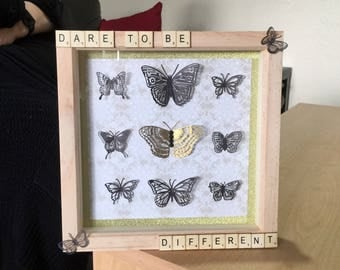 Butterflies Wooded Framed Picture 'Dare to be different' - Unique gift/present/wall hanging/decorative/butterfly