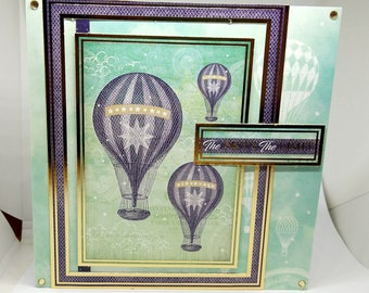 Male Birthday Card - Hot Air Balloons - luxury personalised unique quality special bespoke UK - Dad/Son/Uncle/Brother/Nephew