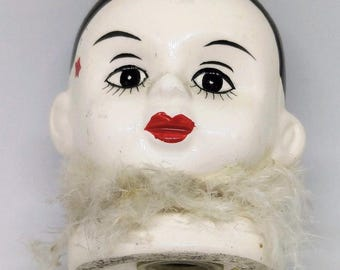 Vintage Pierrot clown pomander with scent
