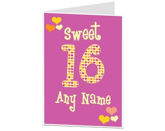 16th Birthday Card. 16 Card. 16th Birthday Card For Her Daughter Best Friend. Sweet 16 Personalised Birthday Card