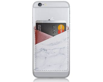 Marble Printed Metallic Rose Gold Pink PU Leather Double Pocket Adhesive Card Holder Stick On Cell Phone Wallet