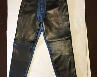 Vintage Ladies Only Jeans With Faux Leather Front Size 5/6