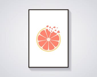"Printable Art ""Grapefruit Crunch"" Minimalistic Fruit Art Print"