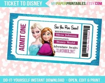 Elsa Anna Disney Frozen Princess Printable Ticket To Disney DIY Personalize INSTANT DOWNLOAD Disney World Disneyland Surprise Disney Frozen