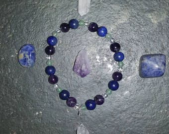Higher Chakra bracelet. Aventurine, lapis lazuli, amethyst and clear quartz.