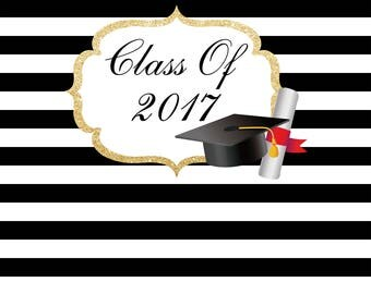 Graduation backdrop,graduation party backdrop,Party Backdrop,Graduation Decor,Black an White stripes,Graduation Banner,Personalized,YY-0236