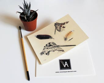 Double Woodcock illustration greeting card