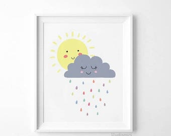 Sun wall art - cloud - sale Sunshine Art Print - Yellow Kids Room, Sun Wall Art, Yellow Home Decor, Sunshine Nursery Wall Art, wall art kids