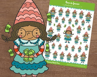 Raining Moolah Nina, Nina the Gnome, Gnome Stickers, Pay Day Stickers, for use with Erin Condren, Happy Planner, Money, Budgeting, WOC