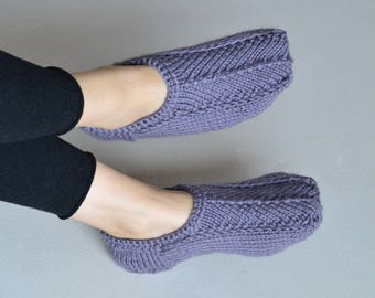 Lavender warm slipper socks alpaca slippers wool blend knitted winter knit socks handknit wool slippers knited slippers