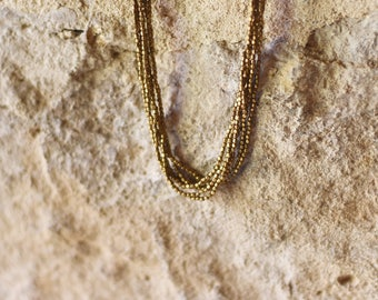 brass beads necklace multiple strings collier en laiton
