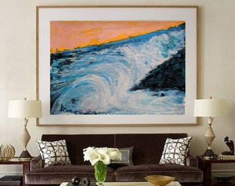 waves in the ocean, blue acrylic painting