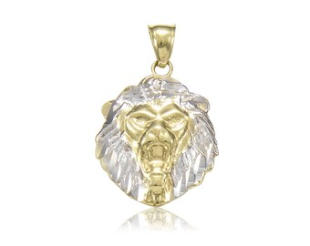 10K Solid Yellow White Gold Lion Head Pendant - Face Necklace Charm Men's Women's
