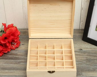 25 Holes Natural Unfinished Wood Box for Essential Oils