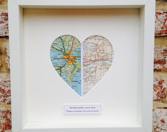 His and Hers or Family Heart Map Frame