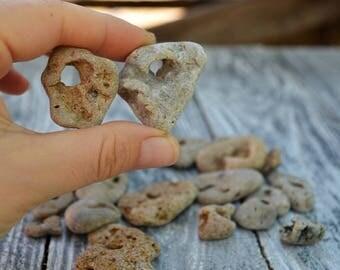 24 Small to medium Holey Stones Sea Stone Pendant Natural Pendant Stone Project Beach Stone Holey Hag Stone Witch beads Beach Holey Stone