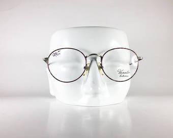 VENETO Vintage Eyeglasses Unisex Silver Metal Round 1990s VENF611Q-1