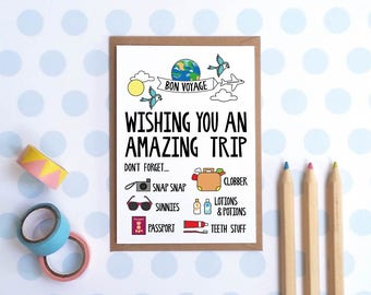 Bon Voyage Card / Have A Good Trip Card / Have Fun Travelling Card / Wishing You An Amazing Trip Illustrated Greetings Card