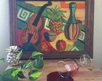 Vintage Still Life Painting • 1940's Signed Oil Painting • Tablescape Painting Still Life