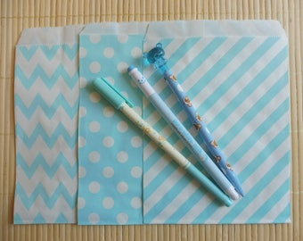 Paper bags 10 piece set blue Middy Bitty Chevron in 3 patterns listed here