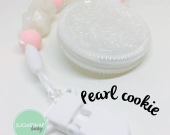 Pearl Oreo cookie - Bpa Free - teether - baby/toddler - safety breakers - toy - baby shower gift - candy pink - pearl - baby girl - pacifier