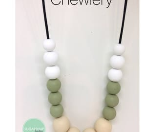 Chewlery - jewlery that can be chewed- worn by moms chewed by babies and toddlers - silicone beads - safe chewing - safe - new mom gift