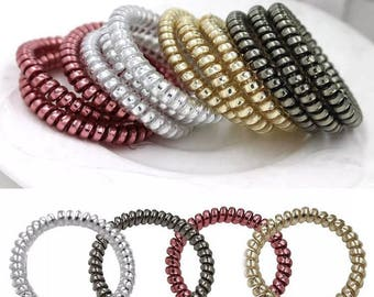 Bundle of 3 Hair Elastics - telephone hair elastics - coils - adult and kids - amazing hair elastics - gold and silver