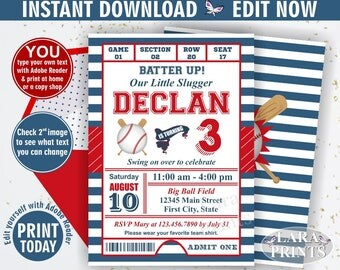 INSTANT DOWNLOAD / Birthday Invitation / Baseball / Sports / Invite / All star / invitations / Ball / red blue invites boy or girl BDSP2