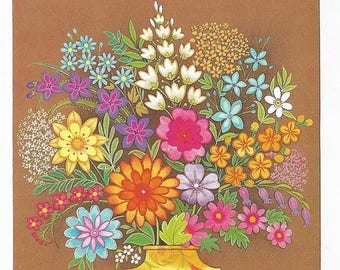 """On Sale 1980s Floral Vintage Birthday Card """"Your Birthday's A Special Occasion"""", Artsy Flowers"""