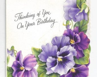 "On Sale 1960s Floral Vintage Birthday Card ""Thinking of You on Your Birthday"""