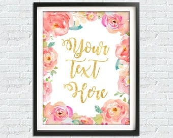 Custom Quote Print, Girls Room Decor, Floral Nursery Decor, Pink Peach Nursery, Custom Wall Art, Personalized Quote, Watercolor Floral Print