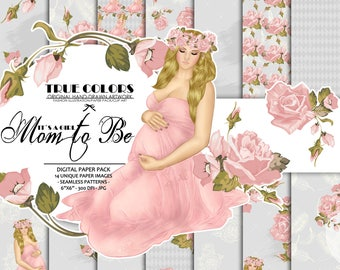 Baby Girl Paper Pack Pregnant Paper Pack Pregnancy Paper Pack Mother to be Digital Paper Roses Printables Expecting a Child Digital Paper