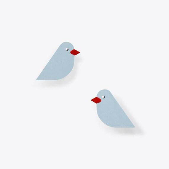 Modern Light Blue Bird Earrings