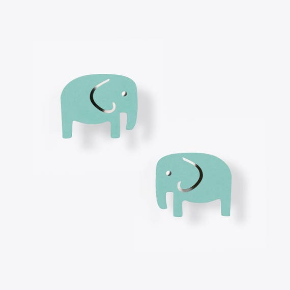 Modern Light Malachite Elephant Earrings