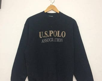 15% OFF Rare US POLO Association Sweatshirt Big Logo Spell Out Embroidered Black Colour Size Medium
