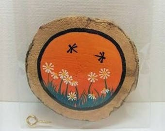 Driftwood Art Dragonfly White Flowers Wall Ornament Orange Black Wood Magnet Hand Painted Dragonflies Unique Gift Small Painting Home Decor